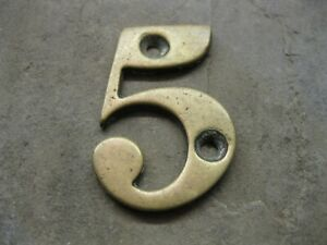 Original Reclaimed Brass Numbers 5 House, Gate, Workshop NL06