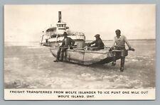 Ice Freighter—Wolfe Island RPPC Ontario KINGSTON—Rare Antique Boat Photo 1920s