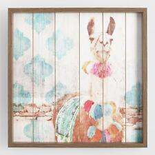 Colorful Llama Framed Print On Planked Wood Wall Art Decor ~ Distressed Finish