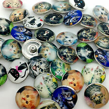 15pcs 18mm Snap Button Cat Glass Ginger Snap Chunk Button Mixed Wholesale Lots