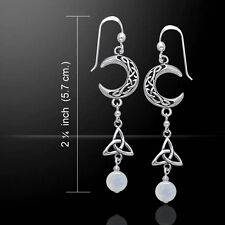 Crescent Moon Trinity Rainbow Moonstone Sterling Silver Earrings Peter Stone