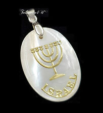 Mother of Pearl Gold 7 Branch Menorah Pendant Judaica Charm Holy Land Gift