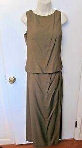 NWT Ann Taylor Brown Silk sleeveless blouse top sz 6 Maxi long skirt 8 set/suit