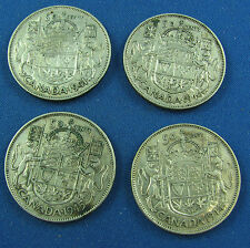 1941 1944 1945 1946  canada 50 cents  very nice coins circulated