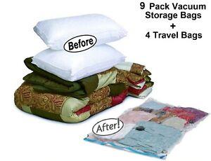 13 PACK: 9 Extra Large Space Saver Storage Vacuum Organizer Bag + 4 Travel Bags