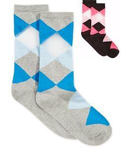 Hue Women's ARGYLE Socks Pique Flat Knit Socks One Size