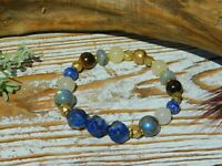 Blue Lapis Lazuli Labradorite Tigers Eye High Quality Natural Gemstone Bracelet