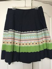 Talbots 12 Navy Mutli Color Printed A Line Skirt