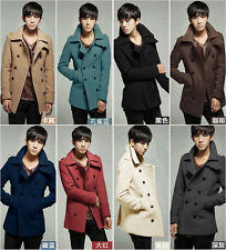 Korean fashion slim mens winter double-breasted lapel casual parkas outwear coat
