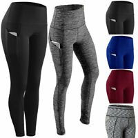 Women Yoga Pants Push Up Leggings Pocket Fitness Sports Gym Exercise Trousers p5