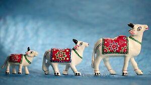 PAPERMACHE Set of 3 White Shiva Cow Nandi Showpiece for Home Decor & Gift