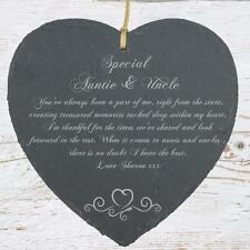 Personalised Auntie and Uncle Gift Slate Plaque Heart Symbol SLA210-4