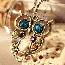 New Coming Women Vintage Rhinestone OWL Long Chain Necklace Pendant Jewelery