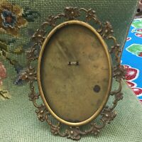 Antique Vintage Art Nouveau Brass Picture Frame w Repousse Filigree Easel Back