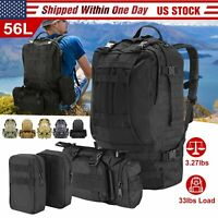 56L Molle Outdoor Military Tactical Bag Camping Hiking Trekking Backpack US Stoc