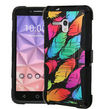 For ALCATEL Hybrid Rugged Cover Kickstand Holster Case COLORFUL FEATHER LuxGuard