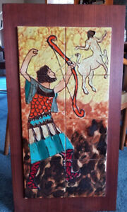 Mid Century Modern  HARRIS STRONG TILE Wall Art Mythological Archer & Centaur