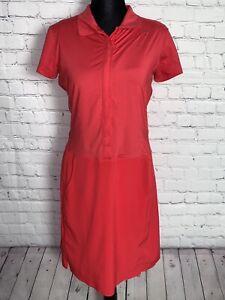 Nike Golf Woman's Dri Fit Tour Performance Red Shirt Dress Blue Tank Size S 4