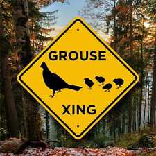 Grouse Crossing Sign - Aluminum Highway Style Placard -  Wildfowl - Cabin Decor