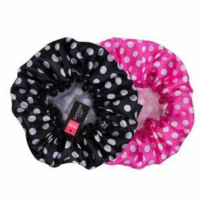 Black Or Pink Polka Dot Spotty Shower Cap Hat Waterproof Bathroom Vintage Style