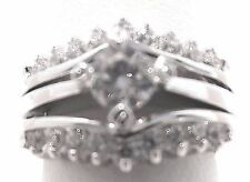 Wedding Ring Set Bridal Engagement Stainless Steel Rhodium 2.00 Ct CZ Size 8 I12