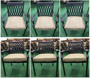 Patio dining chairs set of 6 cast aluminum furniture Tuscany sunbrella cushions