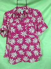 Cathy Daniels Linen Blend M Half Sleeve Button Floral Shirt Pink Sz M