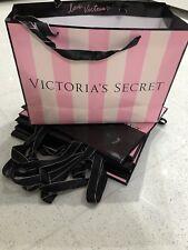 10 x Victoria's Secret Pink Striped Paper Gift Bags Large Black Satin Handle