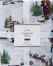 POTTERY BARN Nostalgic Santa Queen Size Organic Cotton Sheet Set Christmas NWT
