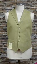 Magee Mens 100% Linen Beige Three Pocket Waistcoat with Lapels Size 38R New