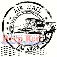 Deep Red Stamps Airmail Postmark Rubber Cling Stamp