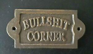 Bullshit corner Sign Cast Iron Funny Wall Plaque 15x7.5 cm Pub Cafe Bar Shed New