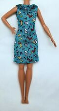 Petite Barbie Clothes Teal Dress Cats & Dogs Dachshunds Fits Skipper Doll New