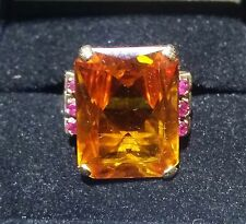 Mid Century Retro Period Emeral-Cut Goden Citrine & 6 Rubies Ladies Ring size 9