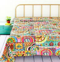 Indian Kantha Quilt Cotton Bed cover Bohemian Bedding King & Queen Bedspread