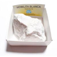 Howlita Blanca Piedra Cristal Natural En Bruto En Cajita De Colección 6x6 cm