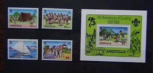 Anguilla 1982 75th Anniversary of Boy Scout Movement set & Miniature Sheet MNH