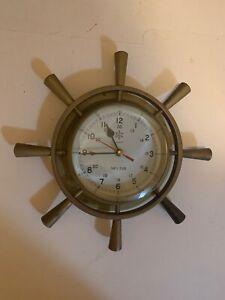 Sea House Quartz Ships  CLOCK Brass Needs new clock.  Nice Piece Helm USN