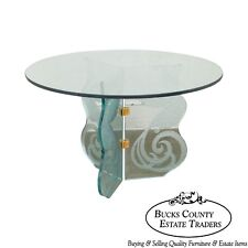 Contemporary Phoenix Etched Round Glass Dining Table (possibly Pace)
