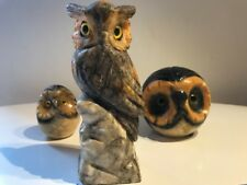 Genuine Alabaster Hand Carved Owl Job Lot Of x3
