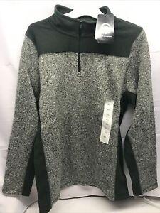Champion Boy Child Heather Long Sleeve Fleece Green Gray Jacket 1/4 Zip XL 16-18