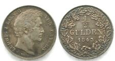Germany BAVARIA 1/2 Gulden 1843 LUDWIG I silver VF-XF # 30353