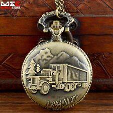 Antique Bronze Quartz Necklace Chain Pocket Watch Pendant Truck Christmas Gift
