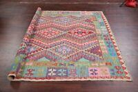 Pastel Color Oriental Turkish Kilim Area Rug Hand-Woven Geometric Carpet 7'x10'