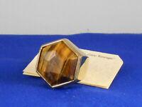 Fossil Brand Polished Goldtone Vintage Revival Tiger's Eye Ring 7 JA5700 $58
