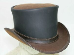 American Hat Makers Head'N Home Steampunk Mad Hatter Leather Top Hat Med Large