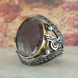 Solid 925 Sterling Silver Men Ring Natural Rough Ruby Gemstone Size 9 - 14