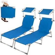2x Alu chaise longue de jardin pliante transat bain de soleil +pare soleil bleu