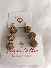 Shiny Studded Beige Earrings