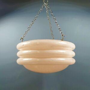 Vintage Art Deco Pink Flycatcher Glass Lampshade Hooped Pendant Lamp Light